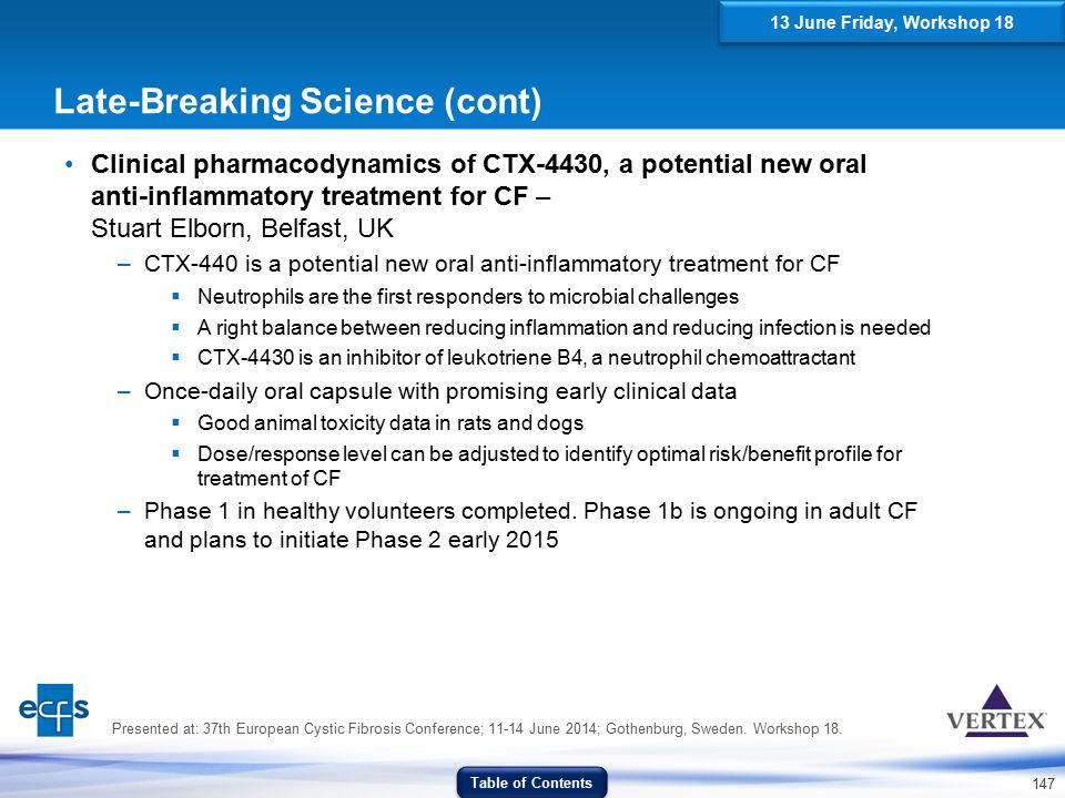 147 Late-Breaking Science (cont) Clinical pharmacodynamics of CTX-4430, a potential new oral anti-inflammatory treatment for CF – Stuart Elborn, Belfa