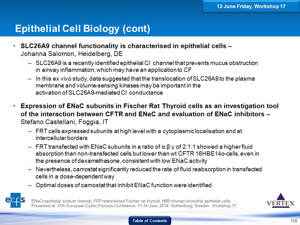158 Epithelial Cell Biology (cont) SLC26A9 channel functionality is characterised in epithelial cells – Johanna Salomon, Heidelberg, DE –SLC26A9 is a