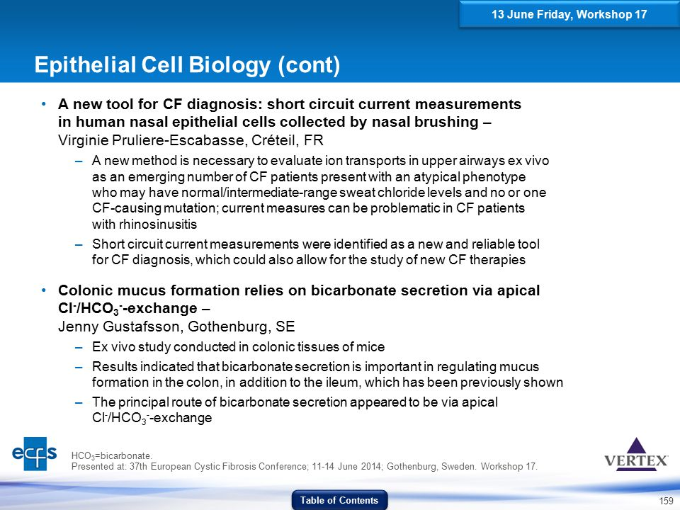 159 Epithelial Cell Biology (cont) A new tool for CF diagnosis: short circuit current measurements in human nasal epithelial cells collected by nasal