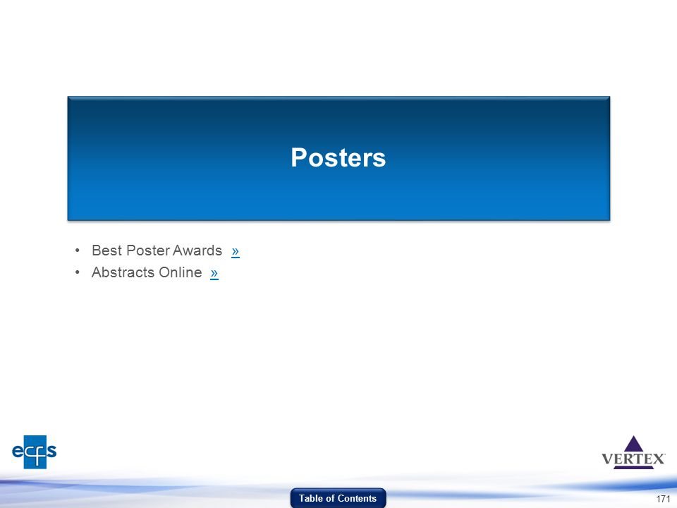 171 Posters Best Poster Awards »» Abstracts Online »» Table of Contents