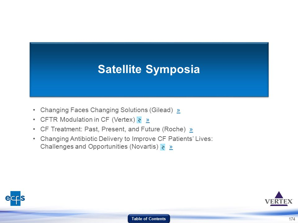 174 Satellite Symposia Changing Faces Changing Solutions (Gilead) »» CFTR Modulation in CF (Vertex) »» CF Treatment: Past, Present, and Future (Roche)