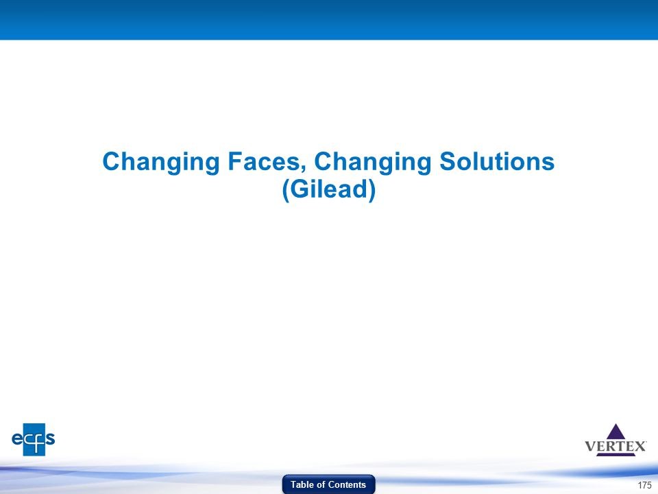 175 Changing Faces Changing Solutions (Gilead) Table of Contents,