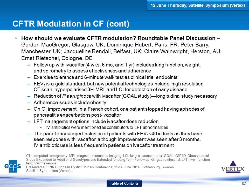 182 CFTR Modulation in CF (cont) How should we evaluate CFTR modulation? Roundtable Panel Discussion – Gordon MacGregor, Glasgow, UK; Dominique Hubert