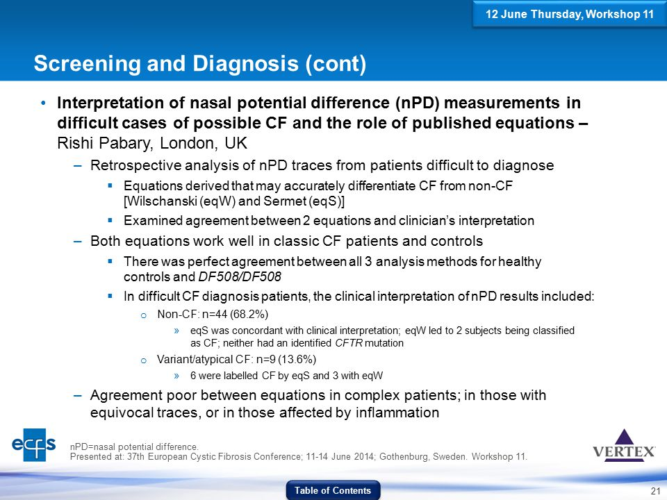 21 Screening and Diagnosis (cont) Interpretation of nasal potential difference (nPD) measurements in difficult cases of possible CF and the role of pu