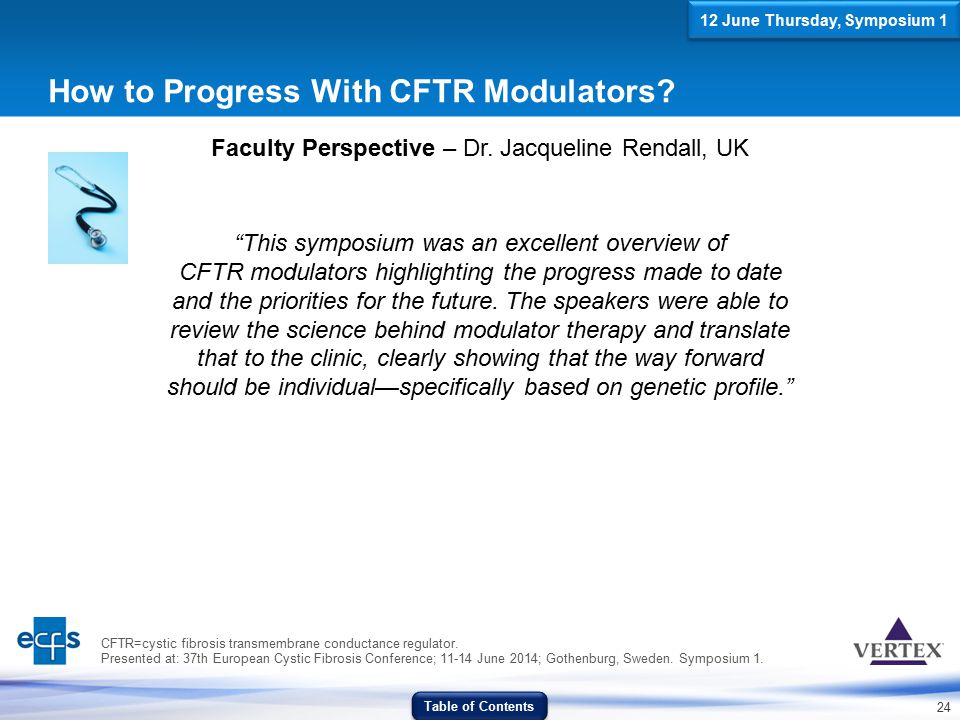 """24 How to Progress With CFTR Modulators? Faculty Perspective – Dr. Jacqueline Rendall, UK """"This symposium was an excellent overview of CFTR modulators"""
