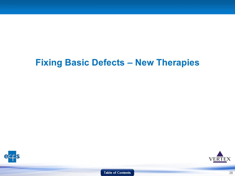 28 Fixing Basic Defects – New Therapies Table of Contents