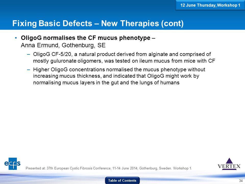 34 Fixing Basic Defects – New Therapies (cont) OligoG normalises the CF mucus phenotype – Anna Ermund, Gothenburg, SE –OligoG CF-5/20, a natural produ
