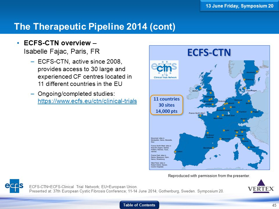 45 The Therapeutic Pipeline 2014 (cont) ECFS-CTN overview – Isabelle Fajac, Paris, FR –ECFS-CTN, active since 2008, provides access to 30 large and ex