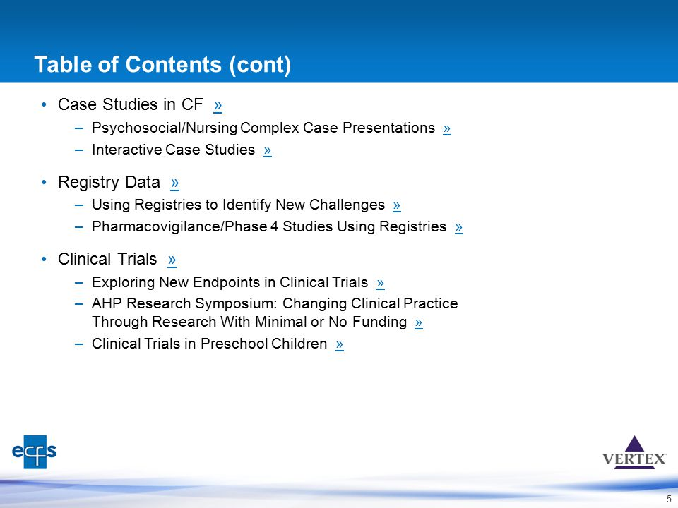 5 Table of Contents (cont) Case Studies in CF »» –Psychosocial/Nursing Complex Case Presentations »» –Interactive Case Studies »» Registry Data »» –Us