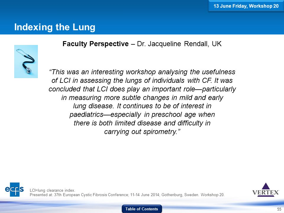 """55 Indexing the Lung Faculty Perspective – Dr. Jacqueline Rendall, UK """"This was an interesting workshop analysing the usefulness of LCI in assessing t"""