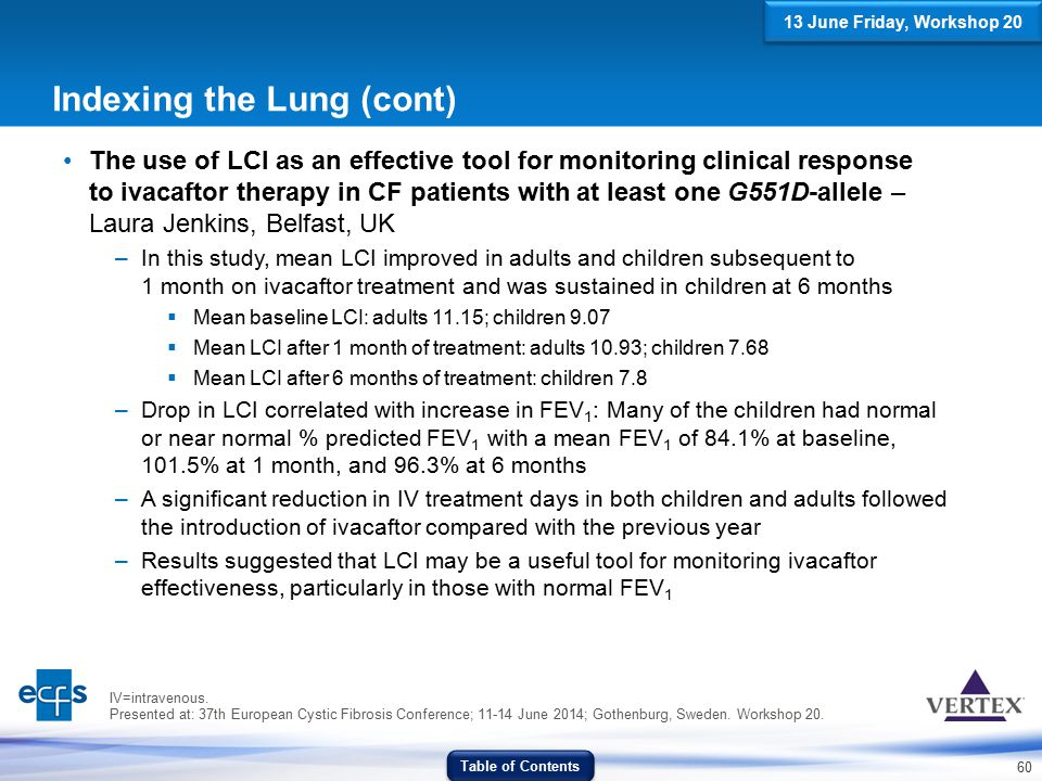 60 Indexing the Lung (cont) The use of LCI as an effective tool for monitoring clinical response to ivacaftor therapy in CF patients with at least one