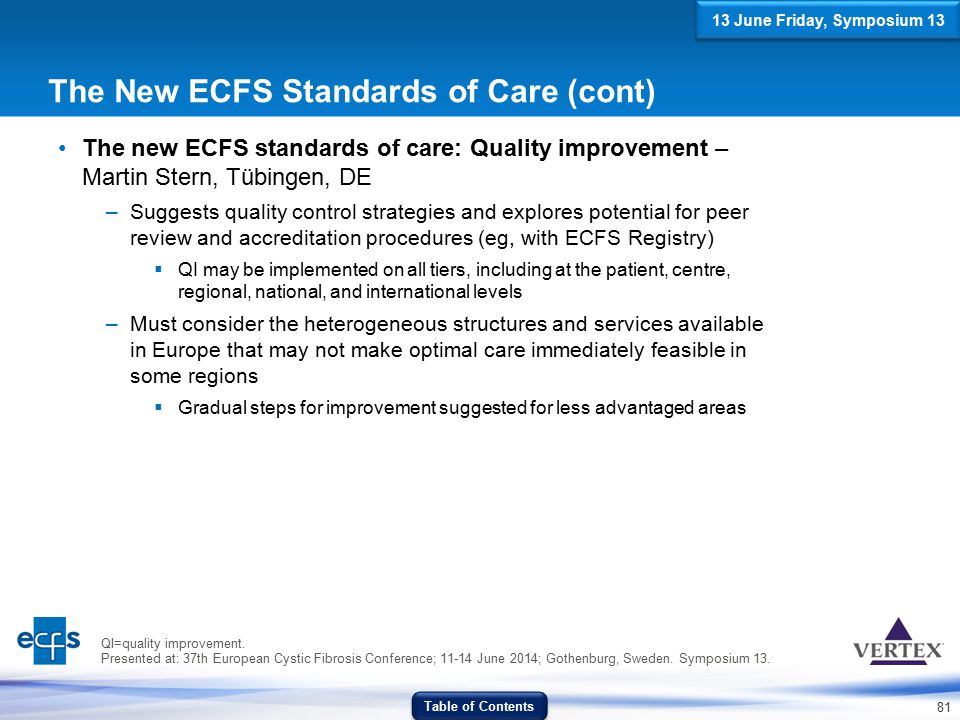 81 The New ECFS Standards of Care (cont) The new ECFS standards of care: Quality improvement – Martin Stern, Tübingen, DE –Suggests quality control st