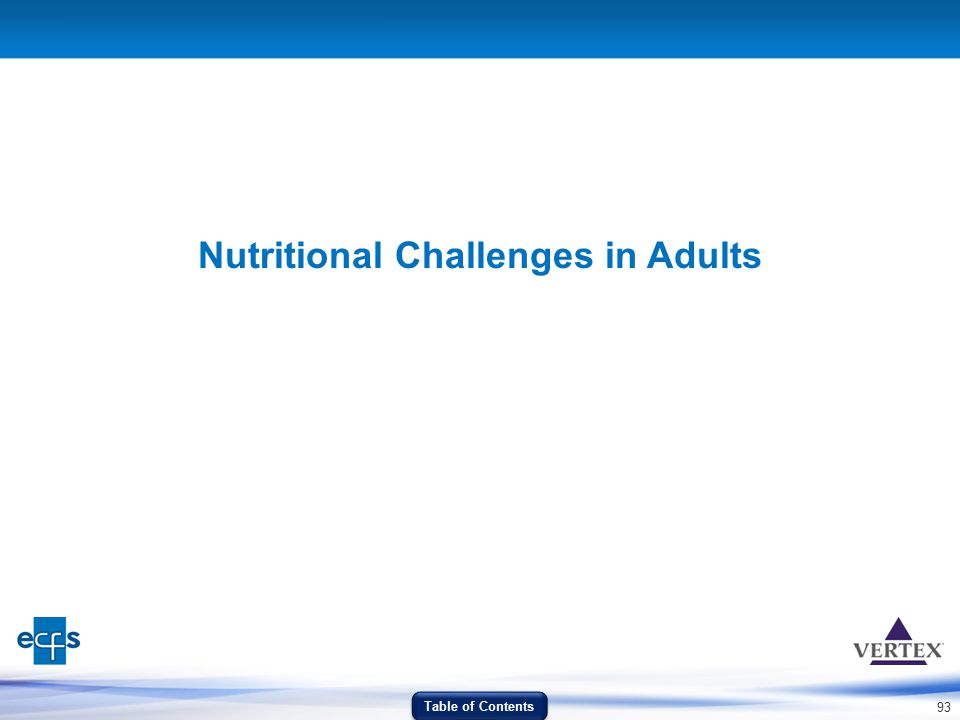 93 Nutritional Challenges in Adults Table of Contents