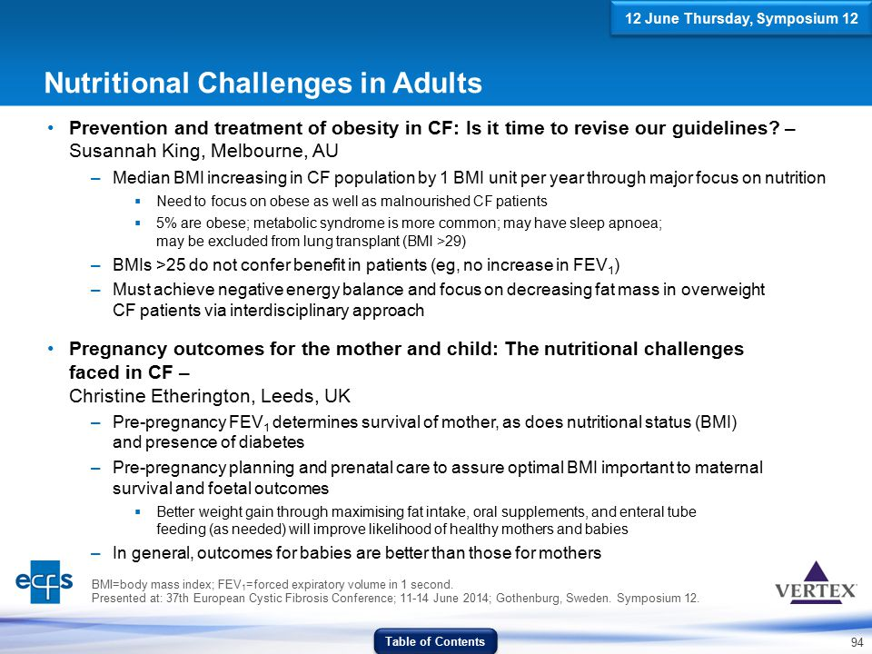 94 BMI=body mass index; FEV 1 =forced expiratory volume in 1 second. Presented at: 37th European Cystic Fibrosis Conference; 11-14 June 2014; Gothenbu