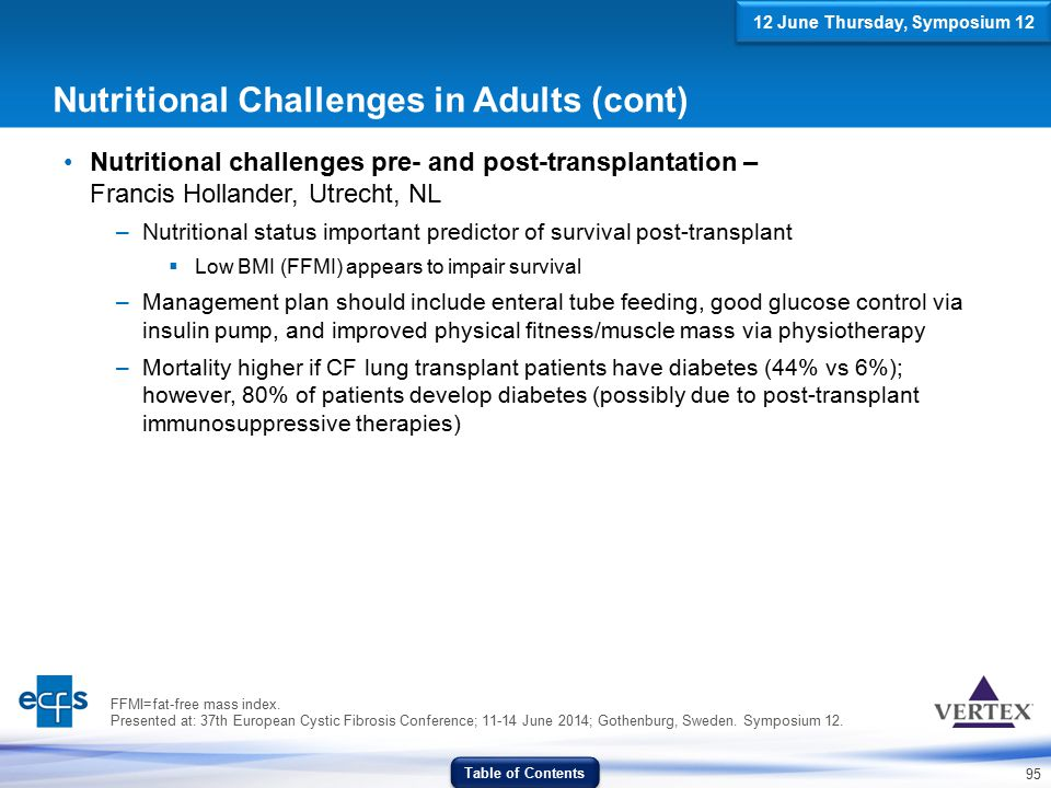 95 Nutritional Challenges in Adults (cont) Nutritional challenges pre- and post-transplantation – Francis Hollander, Utrecht, NL –Nutritional status i