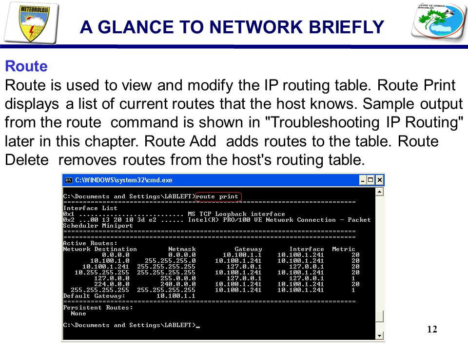 12 A GLANCE TO NETWORK BRIEFLY Route Route is used to view and modify the IP routing table. Route Print displays a list of current routes that the hos