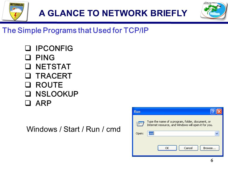 6 The Simple Programs that Used for TCP/IP  IPCONFIG  PING  NETSTAT  TRACERT  ROUTE  NSLOOKUP  ARP Windows / Start / Run / cmd A GLANCE TO NETW