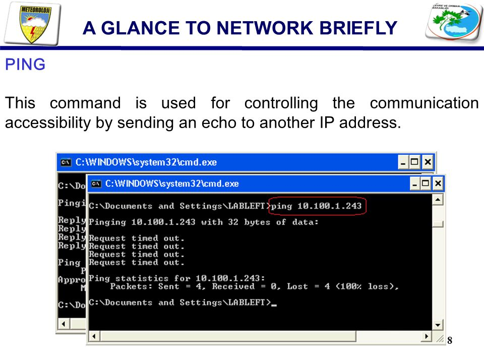 8 PING This command is used for controlling the communication accessibility by sending an echo to another IP address.