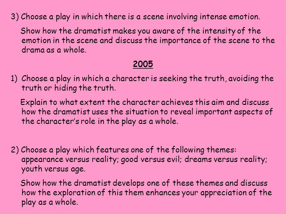 3) Choose a play in which there is a scene involving intense emotion. Show how the dramatist makes you aware of the intensity of the emotion in the sc