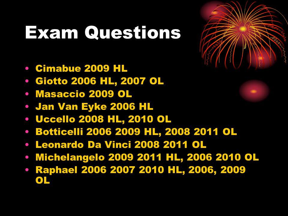Exam Questions Cimabue 2009 HL Giotto 2006 HL, 2007 OL Masaccio 2009 OL Jan Van Eyke 2006 HL Uccello 2008 HL, 2010 OL Botticelli 2006 2009 HL, 2008 20