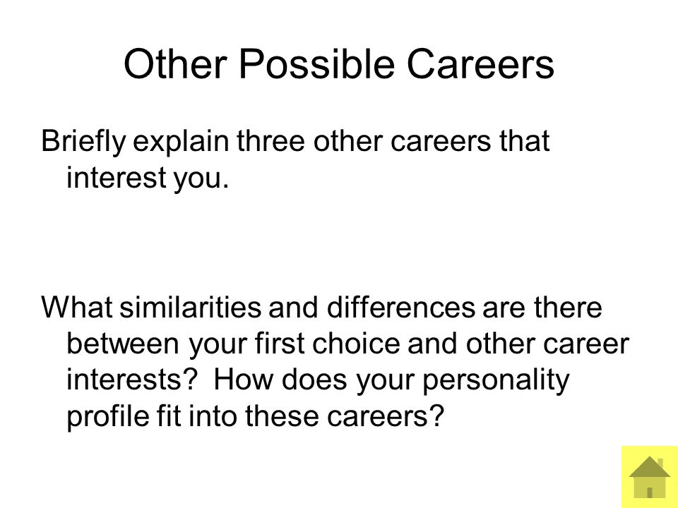 9 Other Possible Careers Briefly explain three other careers that interest you.