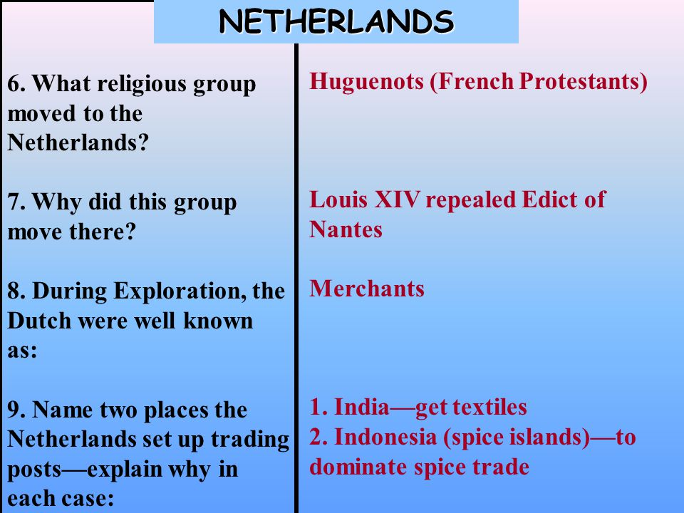 6. What religious group moved to the Netherlands.