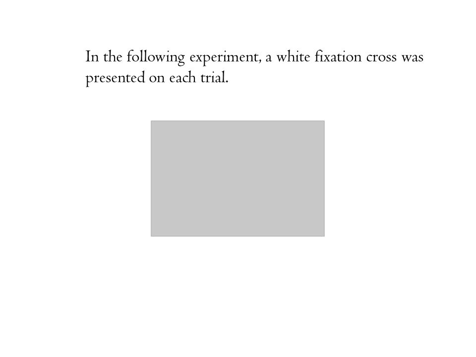 In the following experiment, a white fixation cross was presented on each trial.