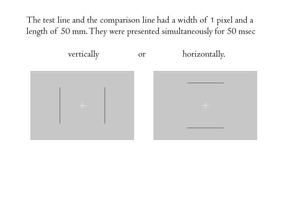 The test line and the comparison line had a width of 1 pixel and a length of 50 mm. They were presented simultaneously for 50 msec vertically or horiz