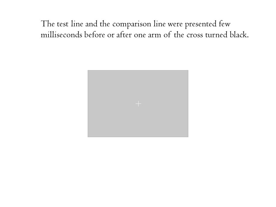 The test line and the comparison line were presented few milliseconds before or after one arm of the cross turned black.