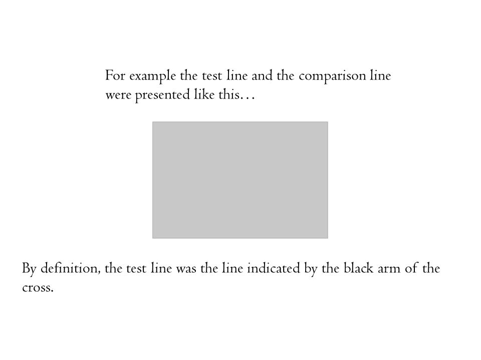 For example the test line and the comparison line were presented like this… By definition, the test line was the line indicated by the black arm of th