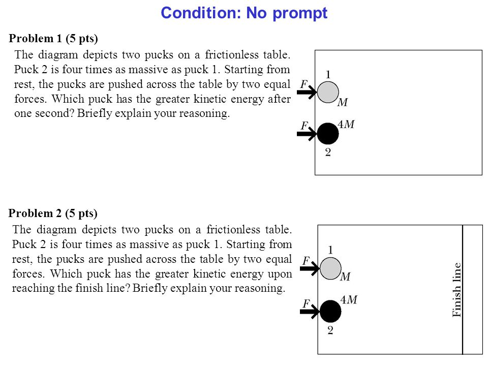 Problem 1 (5 pts) The diagram depicts two pucks on a frictionless table.