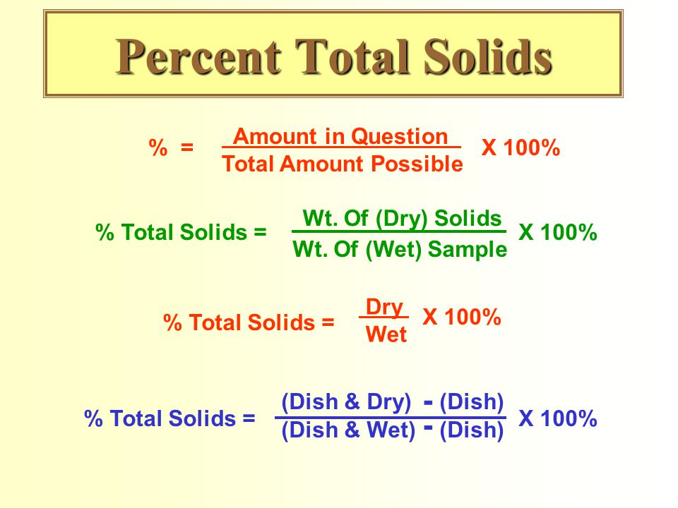 Percent Total Solids % = Amount in Question Total Amount Possible X 100% % Total Solids = Wt. Of (Dry) Solids Wt. Of (Wet) Sample X 100% % Total Solid