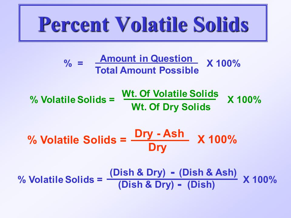 Percent Volatile Solids % = Amount in Question Total Amount Possible X 100% % Volatile Solids = Wt. Of Volatile Solids Wt. Of Dry Solids X 100% % Vola