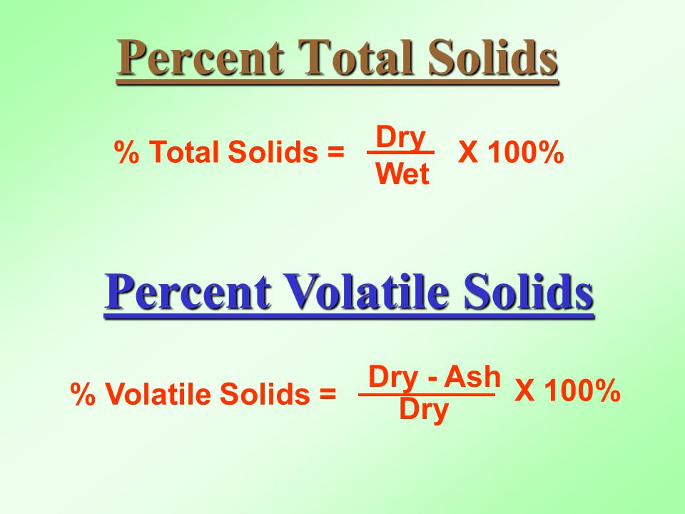 Percent Total Solids % Total Solids = Dry Wet X 100% Percent Volatile Solids % Volatile Solids = Dry - Ash X 100% Dry