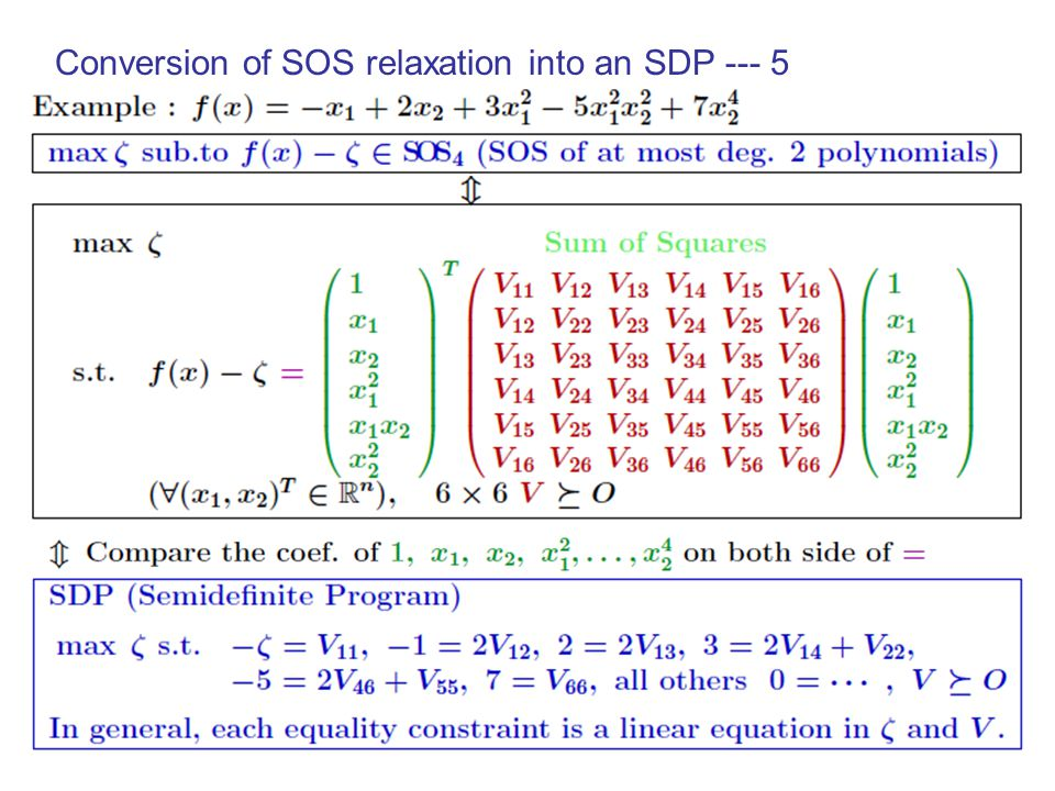 Conversion of SOS relaxation into an SDP --- 4