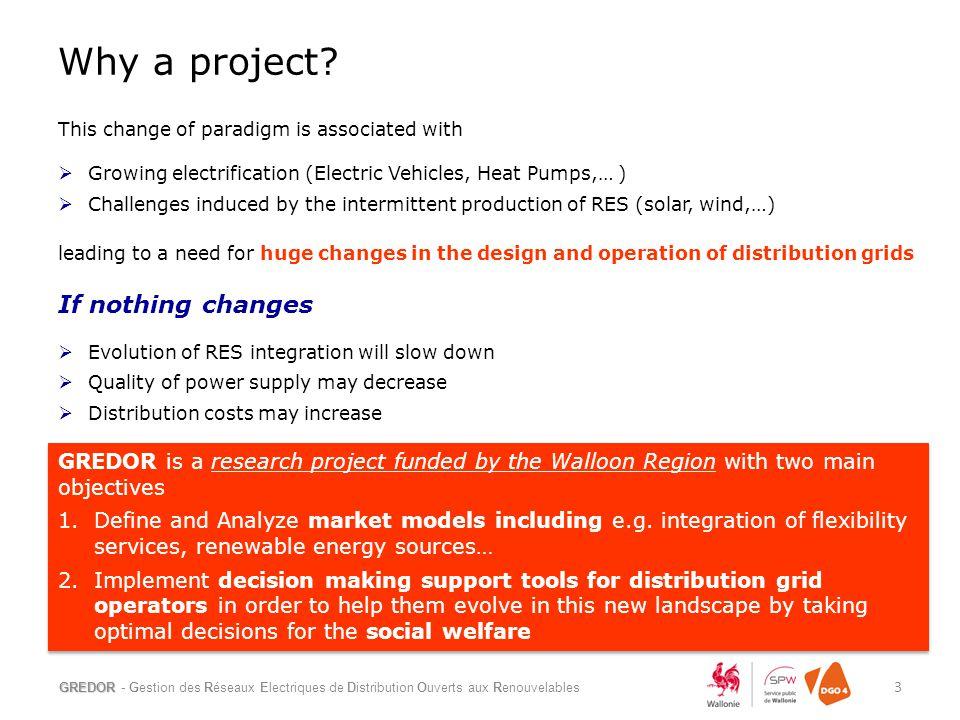 Why a project? GREDOR - Gestion des Réseaux Electriques de Distribution Ouverts aux Renouvelables 3 This change of paradigm is associated with  Growi