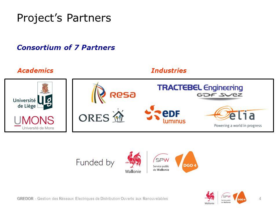 Consortium of 7 Partners GREDOR - Gestion des Réseaux Electriques de Distribution Ouverts aux Renouvelables 4 AcademicsIndustries Project's Partners
