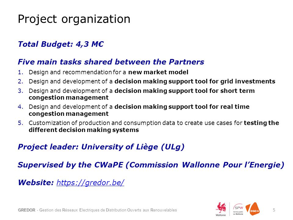 Total Budget: 4,3 M€ Five main tasks shared between the Partners 1.Design and recommendation for a new market model 2.Design and development of a deci