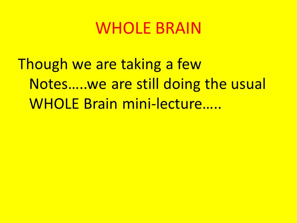 WHOLE BRAIN Though we are taking a few Notes…..we are still doing the usual WHOLE Brain mini-lecture…..