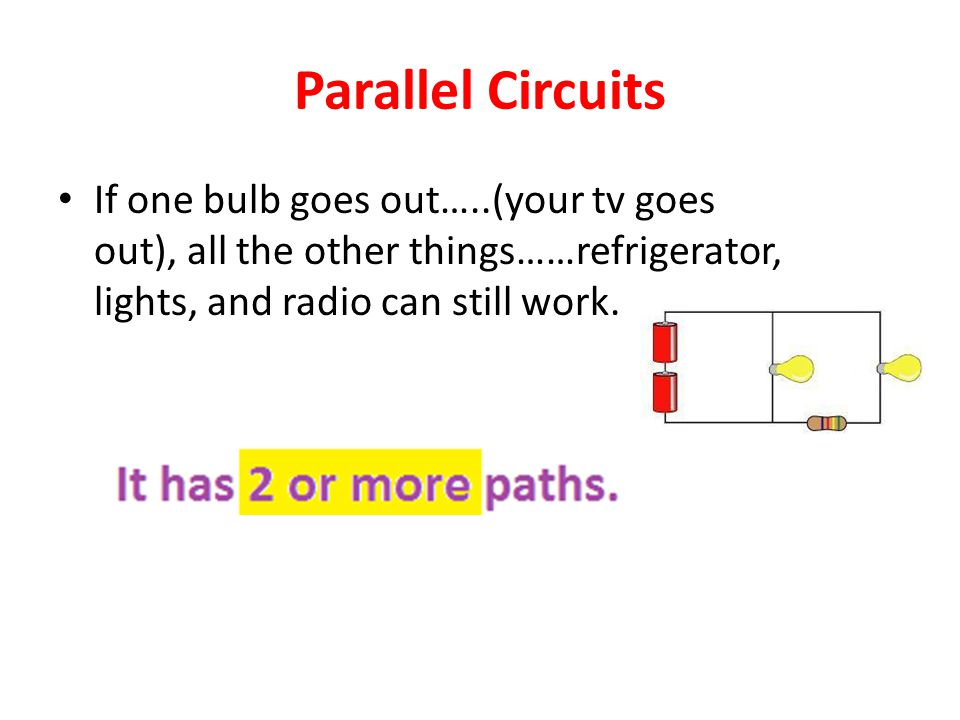 Parallel Circuits If one bulb goes out…..(your tv goes out), all the other things……refrigerator, lights, and radio can still work.