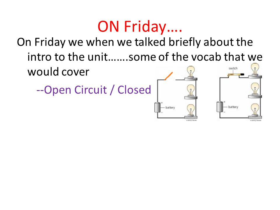 ON Friday…. On Friday we when we talked briefly about the intro to the unit…….some of the vocab that we would cover --Open Circuit / Closed