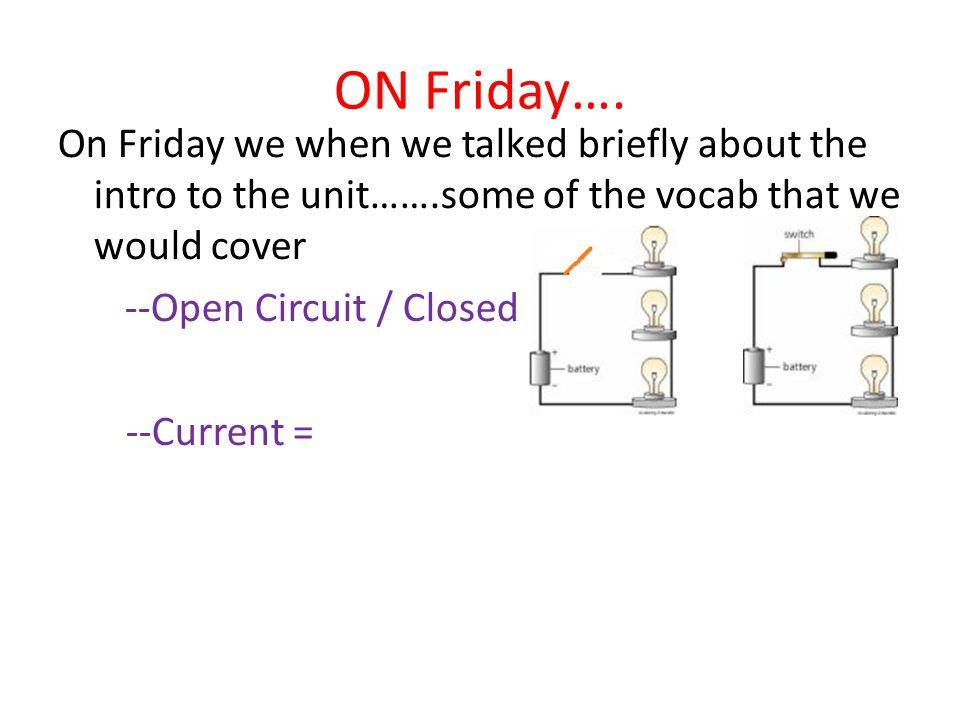 ON Friday….