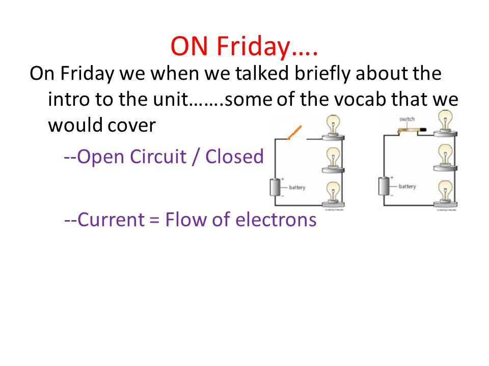 ON Friday…. On Friday we when we talked briefly about the intro to the unit…….some of the vocab that we would cover --Open Circuit / Closed --Current