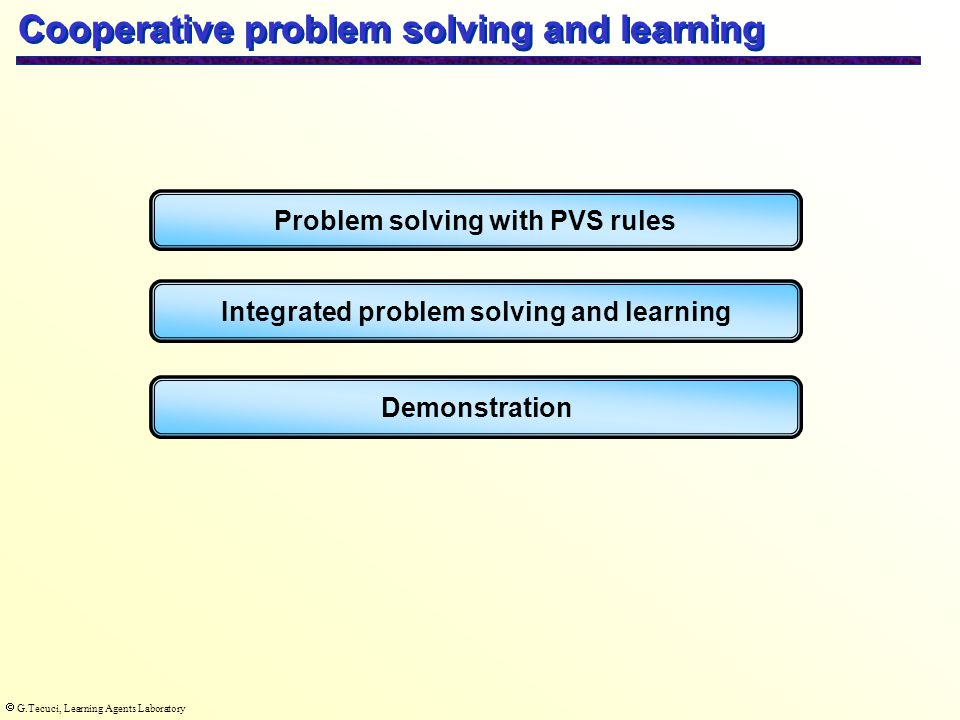  G.Tecuci, Learning Agents Laboratory Cooperative problem solving and learning Problem solving with PVS rules Integrated problem solving and learning Demonstration
