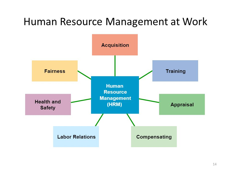 14 Human Resource Management at Work Acquisition Training Appraisal CompensatingLabor Relations Health and Safety Fairness Human Resource Management (