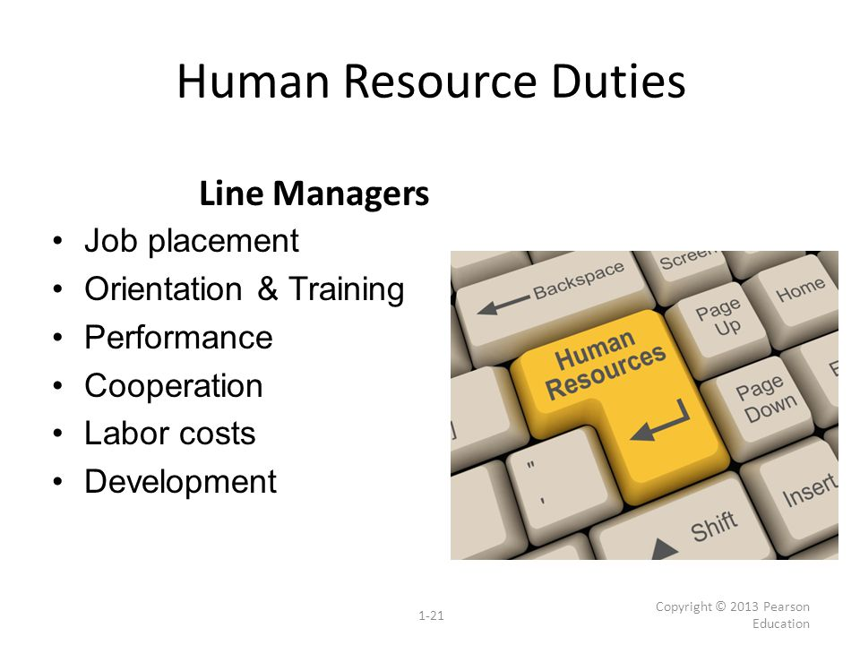 Human Resource Duties Job placement Orientation & Training Performance Cooperation Labor costs Development Copyright © 2013 Pearson Education 1-21 Lin
