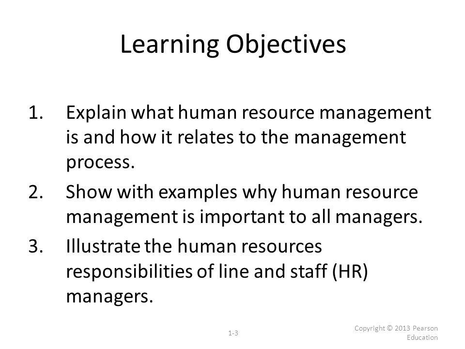 Learning Objectives 1.Explain what human resource management is and how it relates to the management process. 2.Show with examples why human resource