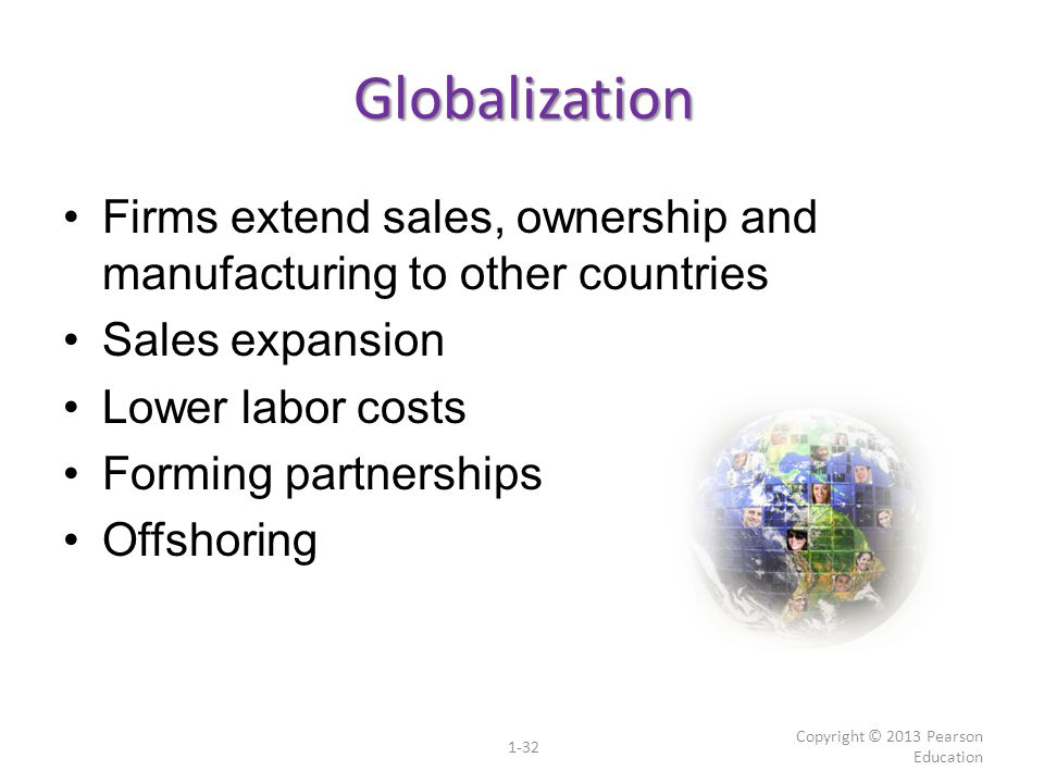 Globalization Firms extend sales, ownership and manufacturing to other countries Sales expansion Lower labor costs Forming partnerships Offshoring Cop