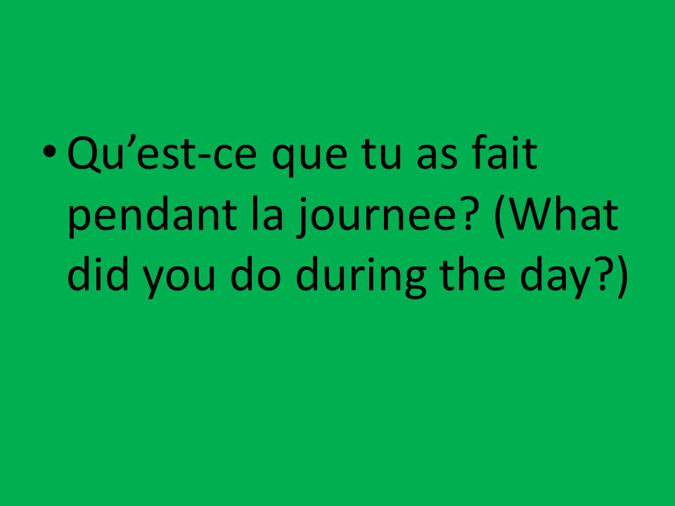 Qu'est-ce que tu as fait pendant la journee? (What did you do during the day?)
