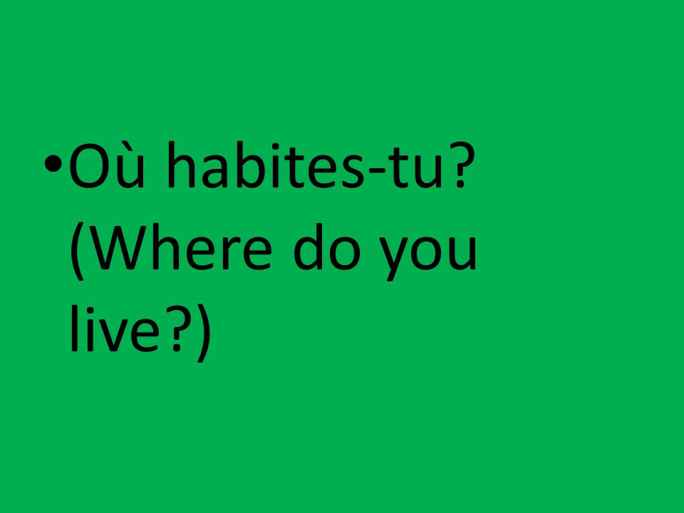 Où habites-tu? (Where do you live?)